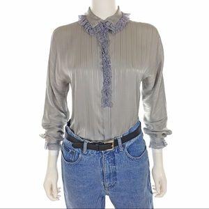 Vintage Christian Dior metallic gray lace blouse